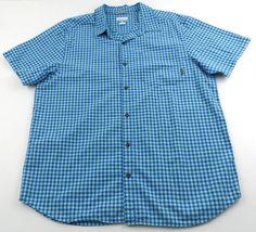 Columbia Short Sleeve Button Front Shirt Gingham Blues Mens XL 100% Cotton  #Columbia #ButtonFront