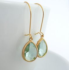 Large Light Green Teardrop Dangle Earrings in Gold, Glass Drop Earrings, Mothers Day Gift, Spring Earrings