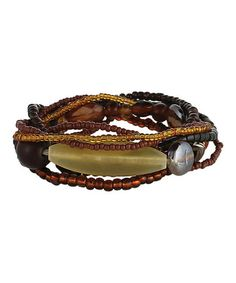 Another great find on #zulily! Brown & Gold Layered Stretch Bracelet #zulilyfinds