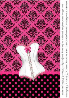 Chá de Lingerie - Kit Completo com molduras para convites, rótulos para guloseimas, lembrancinhas e imagens!