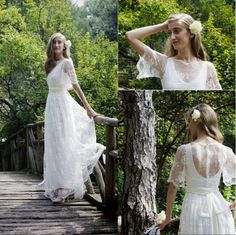 2016 Summer Lace Wedding Dresses Short Sleeves See Through Covered Button Back Bridal Dress Vintage A-Line Wedding Party Gowns Corset Back