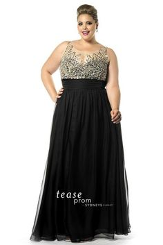 Sydneys Closet TE1509 Tease Sheer Beaded Prom Dress- Sleeveless chiffon and net floor length plus size prom dress with beaded illusion bodice.