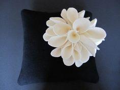 Ring Bearer Pillow Black Ivory spider mum choose your colors #ringbearerpillow by ArtisanFeltStudio on Etsy, $70.00