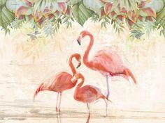 Wallpaper FLAMINGOS PARTY Jungle Mood Line by Wallpepper design Patrizia Cerri