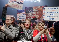 Donald Trump's supporters at a rally on the eve of the election in Manchester, NH. Nov. 7, 2016.