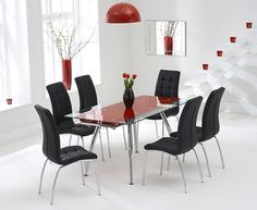 Ritz Red Extending Glass Dining Table with Calgary Chairs.