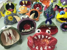 clay projects for kids Walk In Workshop- Pinch Pot Monsters Ceramic Monsters, Clay Monsters, Clay Projects For Kids, Kids Clay, Clay Art For Kids, Fun Projects, Clay Pinch Pots, Ceramic Pinch Pots, Ceramics Projects