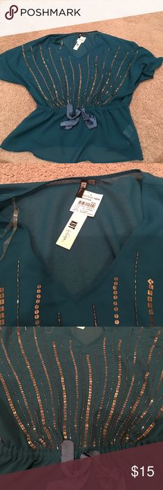 Teal top with gold design Kut teal top with gold design. Sheer material with tie ribbon at waist. NWT Kut from the Kloth Tops Blouses