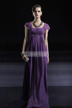 Square Neck Purple Long Cap Sleeve Chiffon Evening Dress