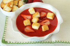 Strawberry Soup with Angel Food Cake Croutons is a fun way to make any gathering a little more exciting! Your guests will be thrilled to enjoy- delicious