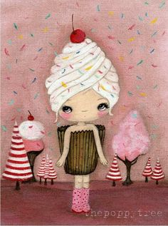 Cupcake Print Candy Ice Cream Pink Cake Girl Wall Art 'One Sweet Day' by thepoppytree on Etsy. Cupcake Kunst, Cupcake Art, Ice Cream Pink, Ice Cream Candy, Illustration Mignonne, Cute Illustration, Cupcakes, Art Fantaisiste, Art Mignon
