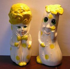 Vintage Anthropomorphic Salt and Pepper Shakers Marked Japan~Celery & Zucchini?