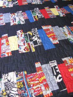 Handmade to Order Marvel Comic Heroes Quilt Comic by quiltyninja, $120.00