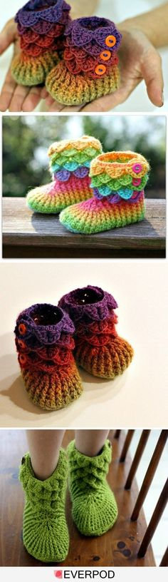 Crochet Slippers Crocodile Stitch by sweet.dreams