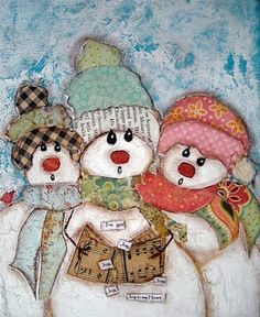 The Snow-family....collage and mixed media.