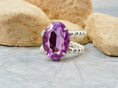 Lavender Rhinestone Stretch Ring Acrylic Cocktail Ring by babbleon, $5.00