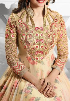 Embroidered Net and Art Silk Abaya Style Suit in Light Beige Abaya Style, Abaya Fashion, Light Beige, Suits, Shopping, Art, Kaftan, Art Background, Kunst