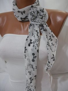 Women Chiffon Scarf  with flower clips Headband   Summer by DIDUCI, $15.00