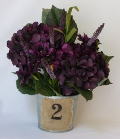 Perfectly Purple Silk Flower Arrangement  With Optional Table Number Vase - single. $38.00, via Etsy.