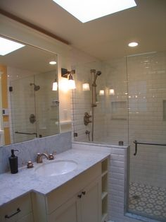 Great House Addition and Remodel in Contemporary Concept: Fascinating Craftsman Bathroom Remodel And Addition Marble Countertop