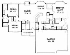 First Floor Plan of Ranch   Traditional   House Plan 62627.....the part I like is how laundry is connected to bathroom