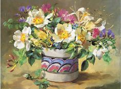 Summer Flowers in a Honiton Pot | Mill House Fine Art – Publishers of Anne Cotterill Flower Art