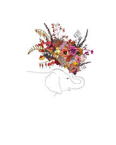 Oopsy Daisy - Canvas Wall Art Botanic Elephant By Katie Vernon, Size: 18 x Red Elephant Bleu, Elephant Love, Elephant Art, Elephant Tattoos, Illustrations Vintage, Illustration Art, Elephant Illustration, Image Deco, Canvas Wall Art