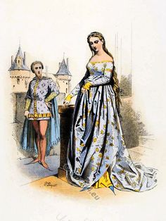 Culture and history of clothing and manners. Extensive text and image examples of different authors from rare books. French medieval clothing.