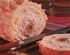 """Oriental Shrimp Sandwich Roll from 1967.  Notice the """"icing""""  This probably tastes good, but the olive ...I swear it's looking at me...daring me to take a bite."""
