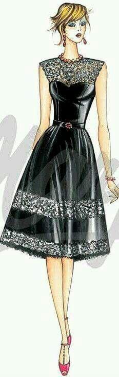 fashionillustr.quenalbertini: Black dress