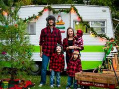 Vintage camper family christmas photo