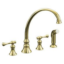 View the Kohler K-16109-4A Double Handle Kitchen Faucet with Metal Traditional Lever Handles and Sidespray from the Revival Series at FaucetDirect.com.