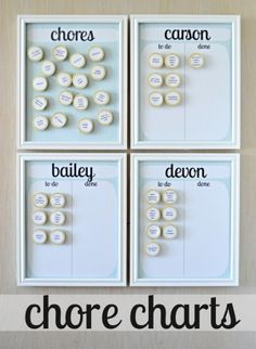 """chore charts by Kim Paige would be cute with picture magnets for smaller kids - Best one so far. Assign daily to each kid, move to done side of board when complete. Can make a section for money earning xtra chores in """"Chores"""" board."""