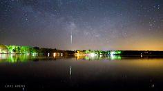 A northern Minnesota lake reflects a large meteor fireball. Credit: Luke Arens.