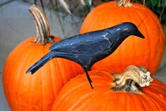 10 Primitive Carved Wood Crow for with wire legs