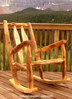 Reclaim Wood Rocking Chair     Made From Sustainable Aspen Logs, Rusticu2026