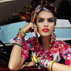 "Editorial from Vogue Brasil ""Carmen Miranda Reloaded"" #TurbanChic #BohoChic #BabesInTurbs"