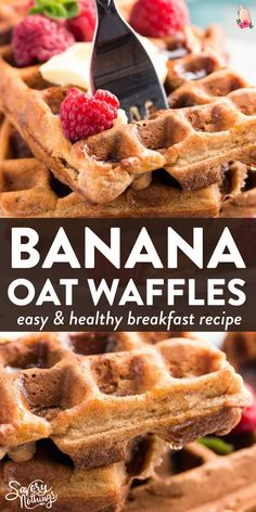 These whole wheat banana oatmeal waffles will give your family a healthy start into the day! Easy to make and full of fluffy banana pieces. Quick Healthy Breakfast, Make Ahead Breakfast, Breakfast Ideas, Oatmeal Waffles, Savory Waffles, Keto Pancakes, Sallys Baking Addiction, Homemade Desserts, Brunch Recipes
