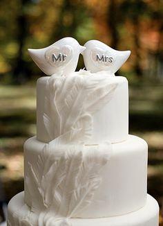 Porcelain Lovebirds Cake Toppers