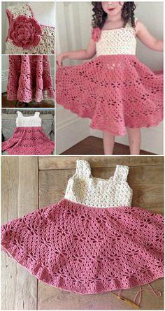 Crochet Toddler Dress Patterns You'll Fall Hard For Crochet Girls Dress Pattern, Crochet Toddler Dress, Toddler Dress Patterns, Knit Baby Dress, Girl Dress Patterns, Vintage Dress Patterns, Crochet Baby Clothes, Crochet Dresses, Clothes Patterns