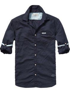Linnen shirt met opgerolde mouwen | Shirt l/s | Herenkleding bij Scotch & Soda