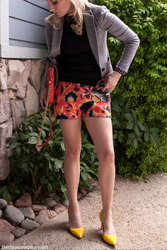 (Outfit Of The Yesterday & In Review) Black + Gray + Coral + Yellow + The J Crew Hibiscus Floral Shorts - t h e (c h l o e) c o n s p i r a c y : fashion + life + style