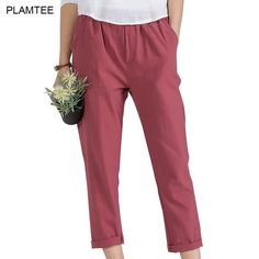 f429a16b01832 Womens Linen Trousers with Elastic Waist Pants Solid Plus Size 5XL