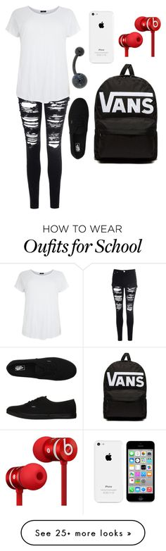 """School"" by pandaslover on Polyvore featuring Glamorous, Vans and Beats by Dr. Dre"