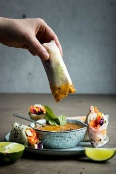 You'll love these vegan summer rolls with a fresh mango dipping sauce and a creamy peanut dipping sauce. The perfect lunch or snack for the warm months Vegan Summer Rolls with Dipping Sauce Two-Ways Healthy Snacks, Healthy Eating, Breakfast Healthy, Clean Eating, Dinner Healthy, Vegan Lunches, Breakfast Recipes, Whole Food Recipes, Cooking Recipes