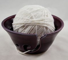 Purple Crochet or Knitting Bowl-WANT