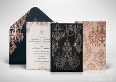 Rose gold Arabic wedding invitation with chandeliers and crystals in foil and letterpress for a wedding in Kuwait. Laser cut sleeve holds all the cards within.