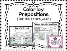 Speech Time Fun: Color By Prepositions: Great for students with Autism, ABA, and more!