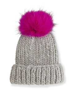 D0ZFE Eugenia Kim Rain Hat with Fur Pom Pom, Gray/Pink