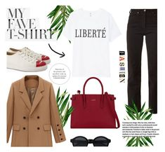 """""""White T-shirt."""" by zeljkaa ❤ liked on Polyvore featuring Eve Denim, Charlotte Olympia, Furla and MyFaveTshirt"""